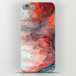 Watercolor red & blue TEXTURE iPhone Case