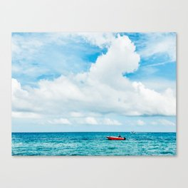 Red Boat against the Caribbean Sky Fine Art Print Canvas Print