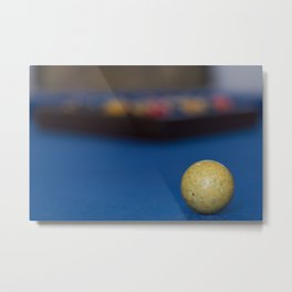 Billiard balls on blue table Metal Print