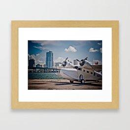 Downtown Miami Seaplane Framed Art Print