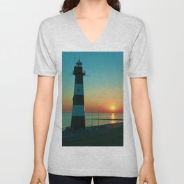 Sunset by the old Lighthouse in Breskens, Netherlands Unisex V-Neck