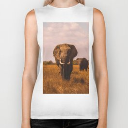 Elephant Safari (Color) Biker Tank