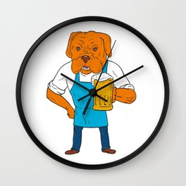 Bordeaux Dog Brewer Mug Mascot Cartoon Wall Clock