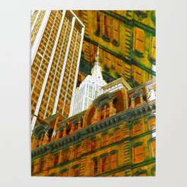 New York City Up Is Down Down Is Up Gold Poster