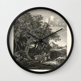 Landscapes of Ludwig Richter (1875) - Well at Grotta Ferrata Wall Clock
