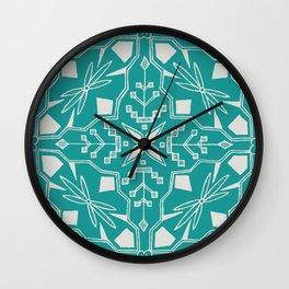 Turquoise Batik Wall Clock