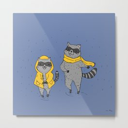Father and daughter raccoon playing in the rain Metal Print