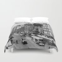 broadway Duvet Covers featuring Vintage Broadway NYC Photograph (1920) by BravuraMedia