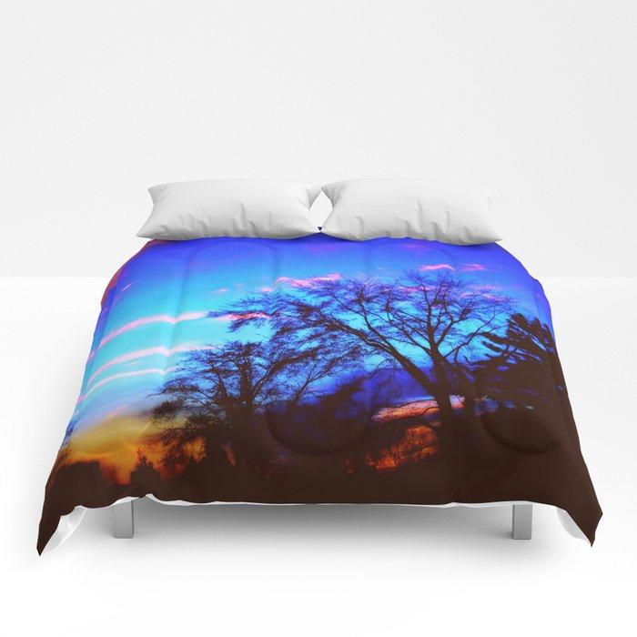 Colorful Sky (vintage) Comforters