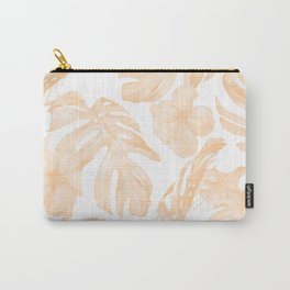 Island Vacation Hibiscus Palm Leaf Coral Apricot Orange Carry-All Pouch