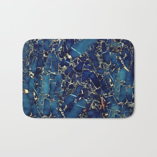 Dark blue stone marble abstract texture with gold streaks Bath Mat