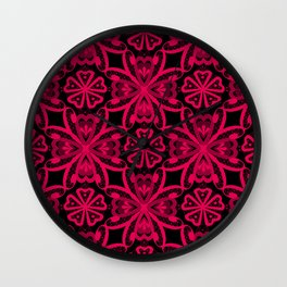 Seamless crimson red romantic floral ornament lace black background Wall Clock