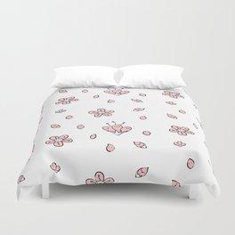 Sweet Sakura Smiles - Springtime - White and Blushing Pink Duvet Cover
