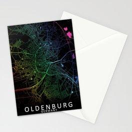 Oldenburg, Germany, City, Map, Rainbow, Map, Art, Print Stationery Cards