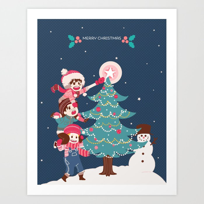 asl christmas v2 art print by yamineftis society6 - Asl Christmas