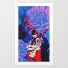 Bowie and Flowers 8 Art Print