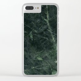 Dark Green Marble Texture Stone Clear iPhone Case