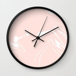 Pink With White Liquid Paint Wall Clock