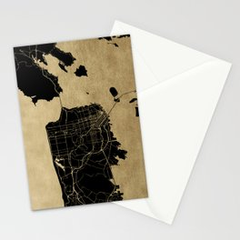 San Francisco California Black and Gold Map Stationery Cards