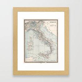 Vintage Map of Italy (1893) Framed Art Print