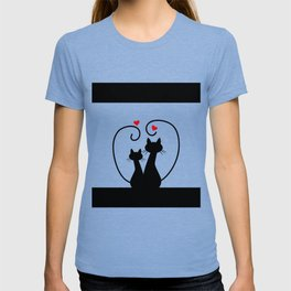 Silhuette Two Cats n' Hearts T-shirt
