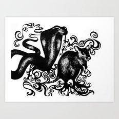 Snake and Rat Art Print