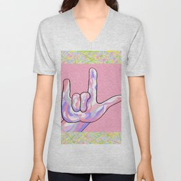 ASL I Love You in PINK Unisex V-Neck