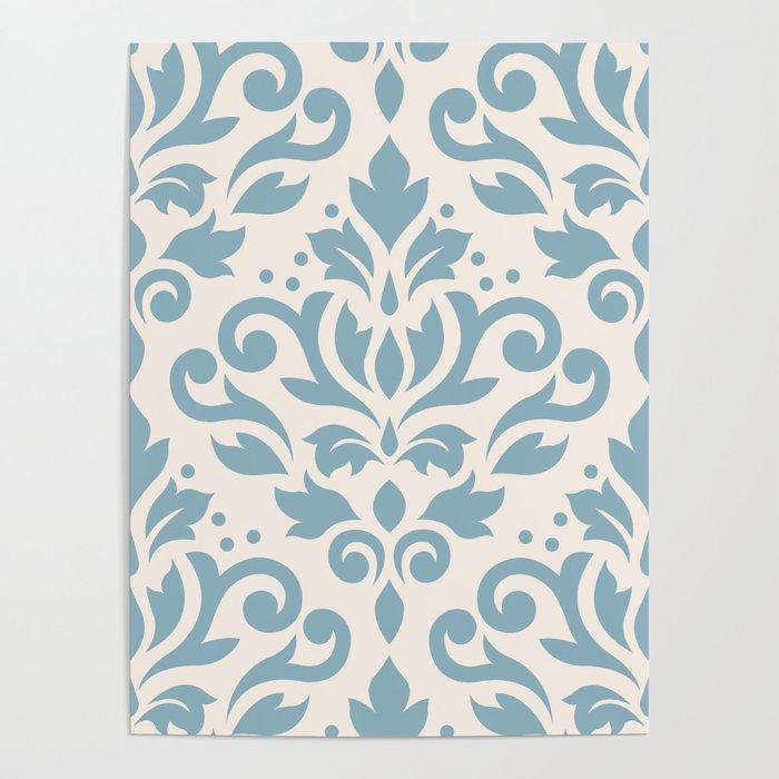 Scroll Damask Large Pattern Blue on Cream Poster