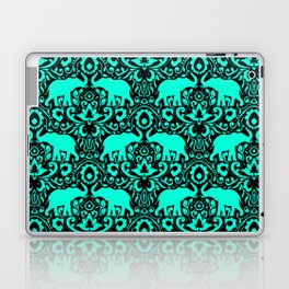Elephant Damask Mint and Black Laptop & iPad Skin