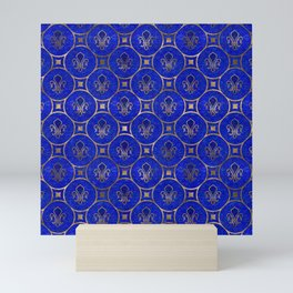 Fleur-de-lis pattern - Lapis Lazuli and Gold Mini Art Print