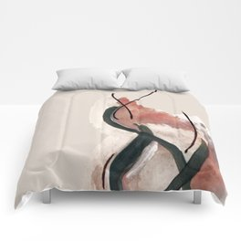 Storm: a minimal abstract mixed media piece in red white and blue Comforters