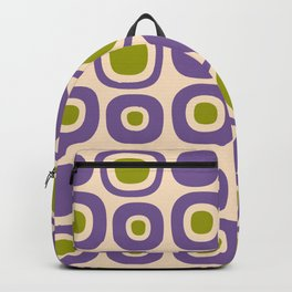 Mid Century Modern Garden Path Pattern 339 Purple and Olive Green Backpack