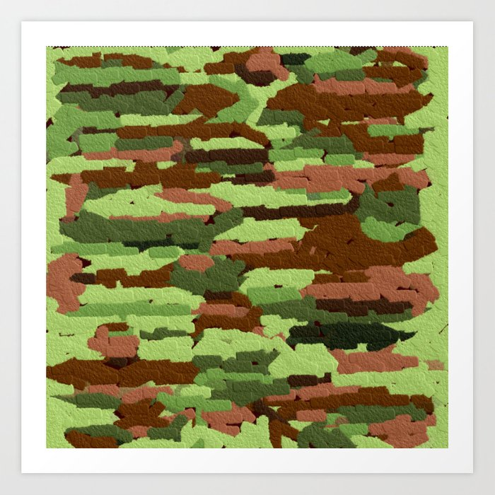 Trendy Green and Brown Camouflage Spheres Art Print