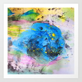 Rustic artistic abstract blue yellow pink watercolor brushstrokes Art Print