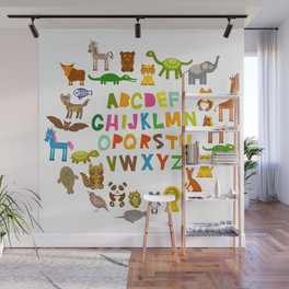 back to school. alphabet for kids from A to Z. funny cartoon animals Wall Mural