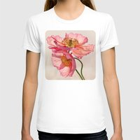 jazzberry T-shirts featuring Like Light through Silk - peach / pink translucent poppy floral by micklyn