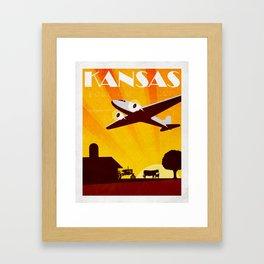 Art Deco Travel Poster - Kansas Framed Art Print
