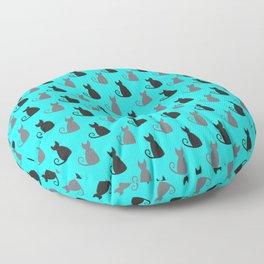 Cat Silhouette Sketch Pattern Floor Pillow