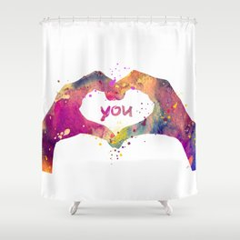 Heart Watercolor Art Print Love Hands Valentine's Day Shower Curtain