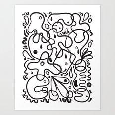 Black & White Blobs Art Print