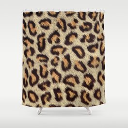 Brown spots leopard faux fur pattern Shower Curtain