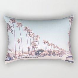 California Sidewalks // Blue Ocean Skyline Roadside Palm Trees Tropical Hollywood Paradise Rectangular Pillow