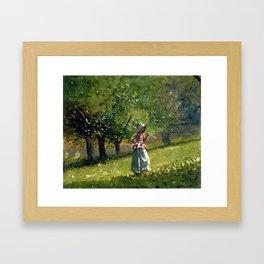 Winslow Homer Girl with Hay Rake Framed Art Print
