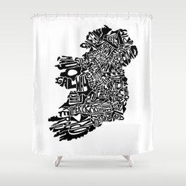 Typographic Ireland Shower Curtain