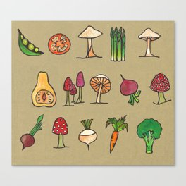 Vegetable Mushrooms food pattern Canvas Print
