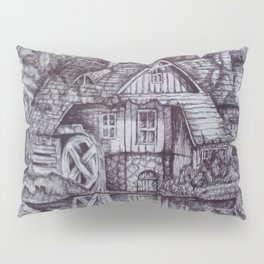 a boiler house in the forest with a stream. Pillow Sham