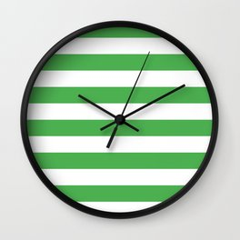 Even Horizontal Stripes, Green and White, L Wall Clock