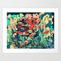 camo Art Prints featuring CAMO by NimbusBlack