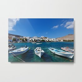 The small harbor in the fishing village Panormos in Tinos island, Greece Metal Print