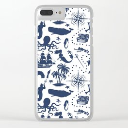 High Seas Adventure // Navy Blue Clear iPhone Case